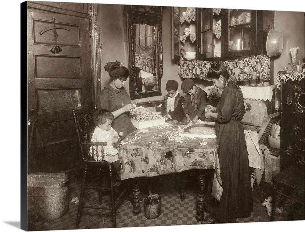 A Family Making Flowers In Unsanitary Tenement Apartment New York City 1911 Wall Art