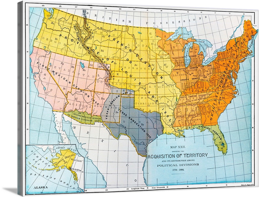 A Map Showing United States\' Territorial Acquisitions Between 1776 And 1884