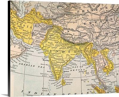 Asia Map, 19th Century