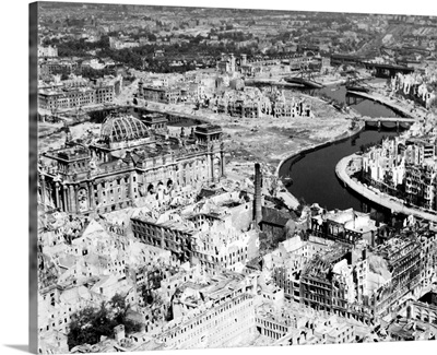 Berlin in ruins after Allied air strikes at the end of World War II, 1945
