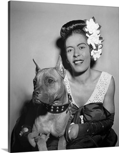 Billie Holiday With Her Dog Mister 1947 Wall Art Canvas