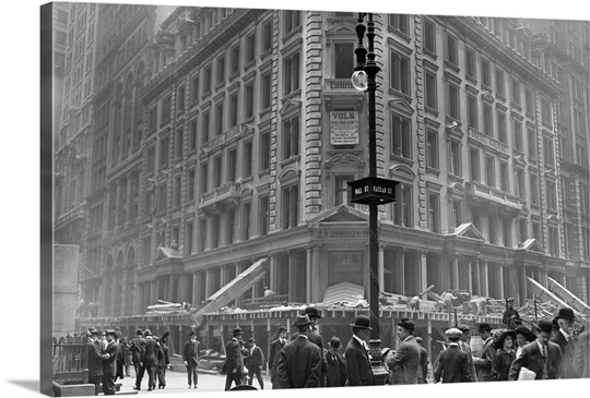 New York City Canvas Wall Art demolition of the j.p. morgan bank at 23 wall street in new york