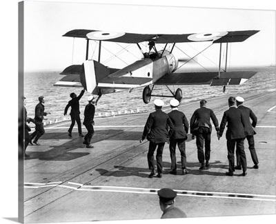 Edwin Harris Dunning landing his Sopwith Pup biplane on the HMS Furious