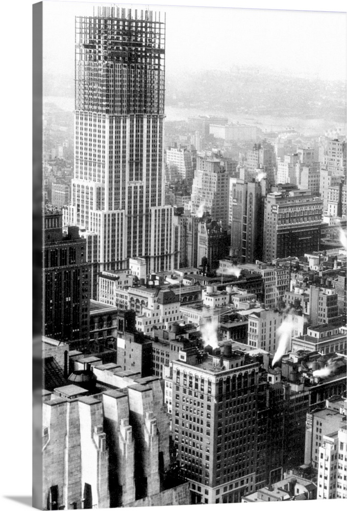 Empire State Building New York 1930a Hardboard and Fiberglass Permanent Glossy Image Coaster