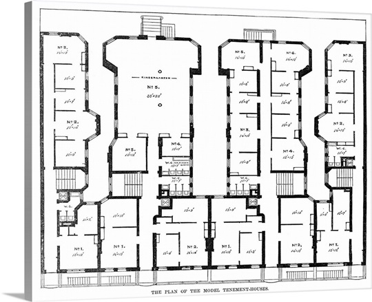 Floor plan of the model tenement houses in new york city for New york house plans