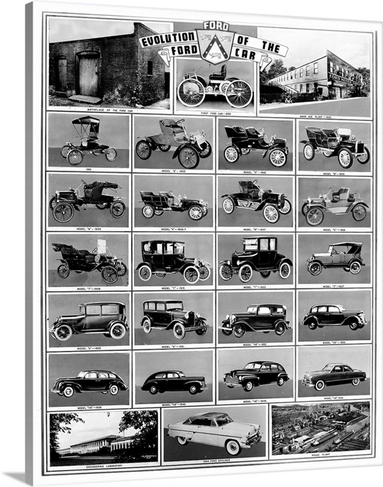 ford automobiles, evolution of the ford car wall art, canvas prints