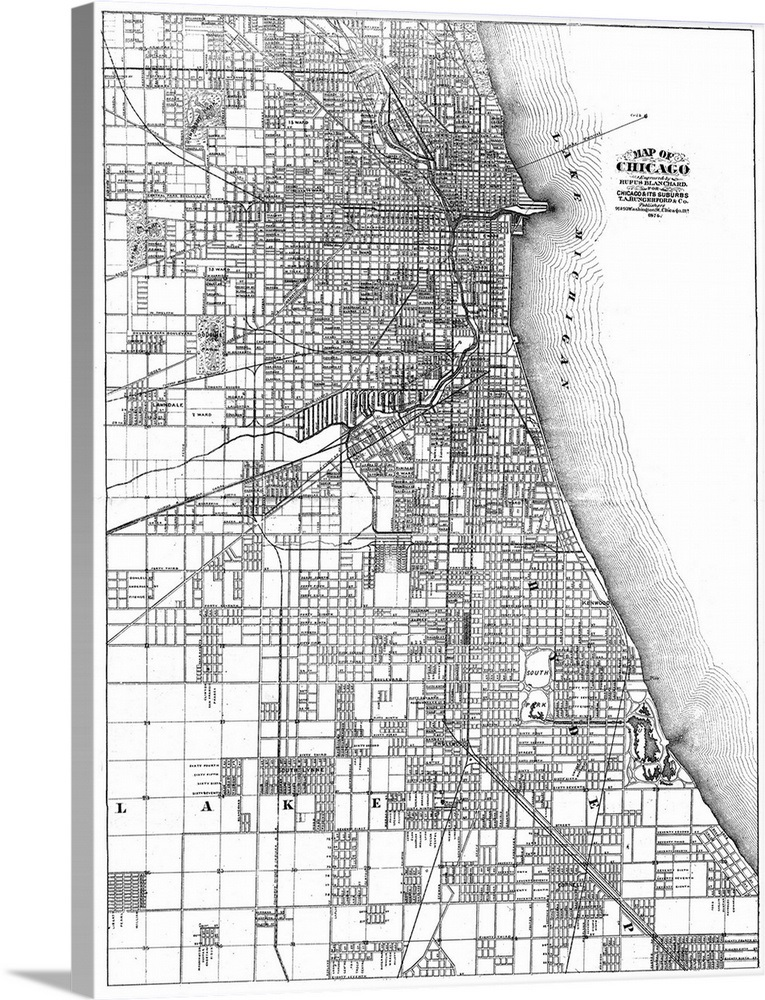 Map Of Chicago Illinois And Its Suburbs 1874 Wall Art Canvas