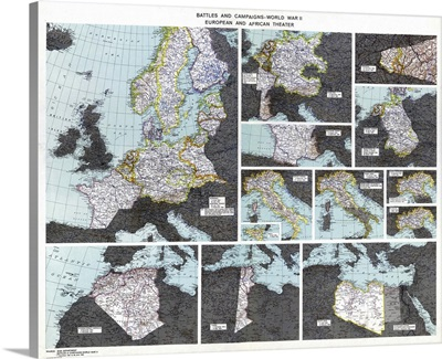 Map, WWII Battles, c1945