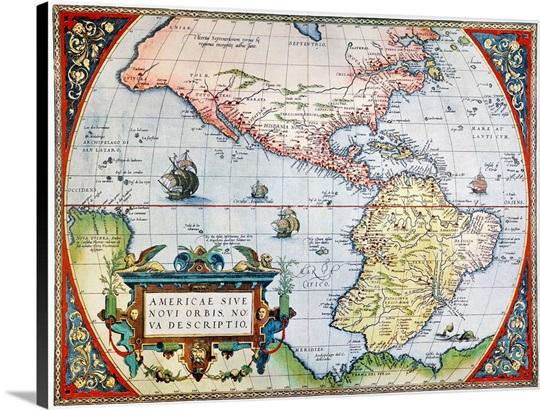 New world map 1570 wall art canvas prints framed prints wall new world map 1570 canvas publicscrutiny Gallery