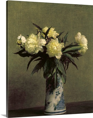 Peonies In A Blue And White Vase, 1872