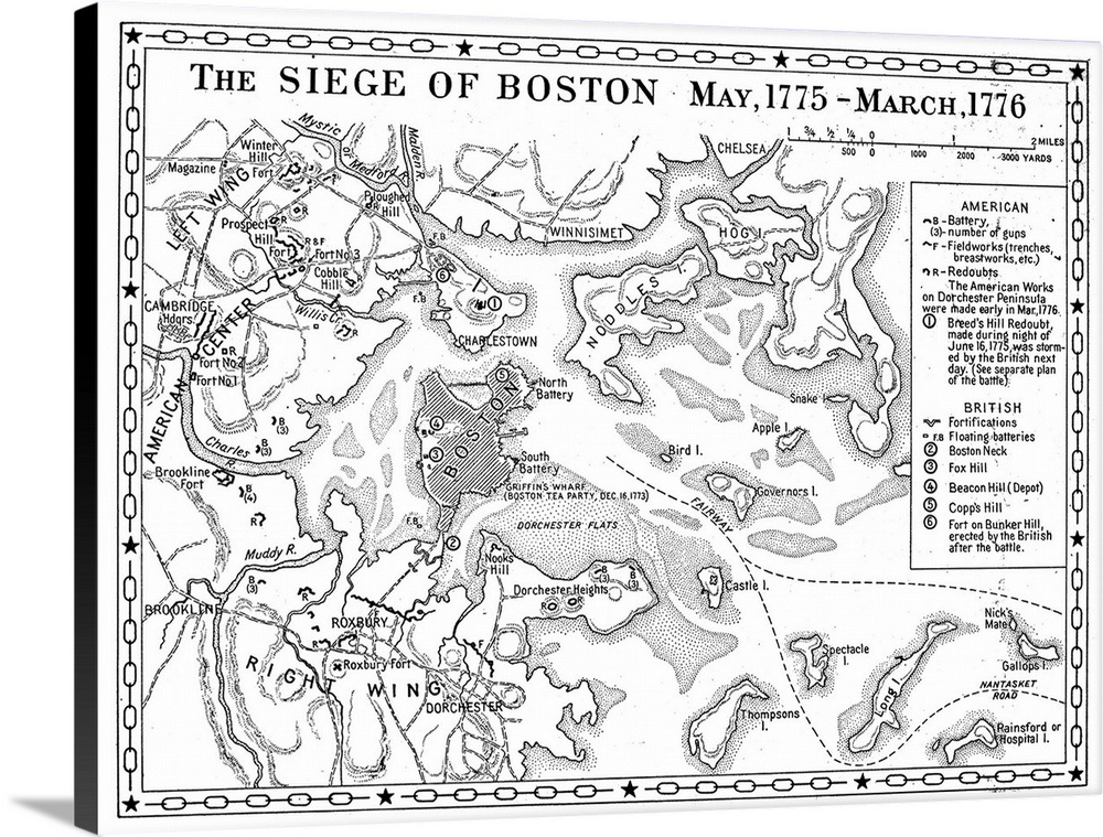 Siege Of Boston Map Wall Art Canvas Prints Framed Prints Wall