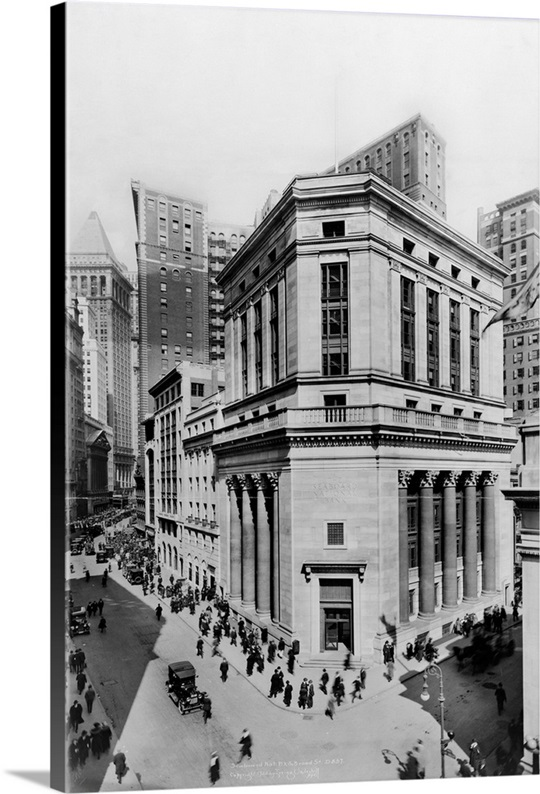 New York City Canvas Wall Art the seaboard national bank at wall and broad streets in new york