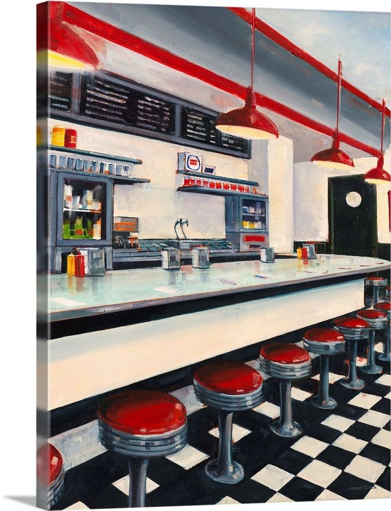 Diner 23 X30 Gallery Wred Canvas