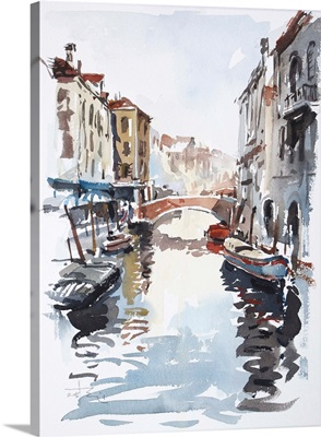 Venice Canal with Barges Sketch