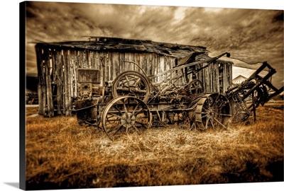 A vintage agricultural machine