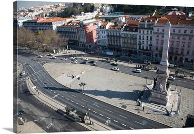 Aerial view of Prana dos Restauradores, Lisbon, Portugal