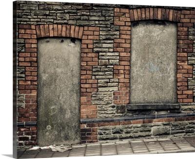 Concreted in derelict doorway and window
