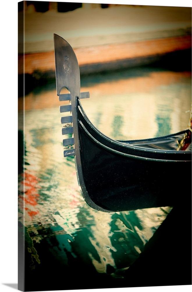 Ferro Di Gondola.Detail Of A Gondola Ferro Di Prua Or Prow Iron Venice Italy
