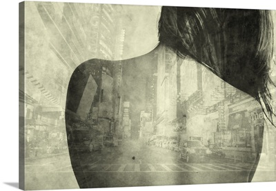 Digital photo collage of young woman's back and city street