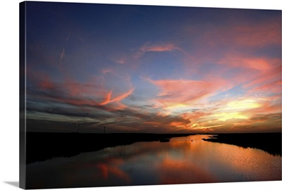 Dramatic sunset at Doana national park, Andalusia, Spain
