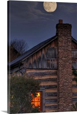 Moon rise over hill at Inn at Cedar Falls