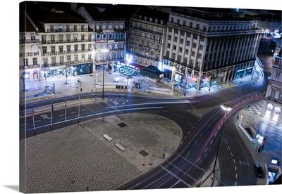 Nocturnal view of Restauradores square, Lisbon