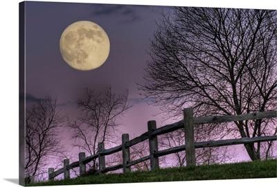 November Moon rising over hill at Inn at Cedar Falls in Hocking Hills