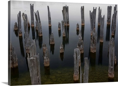Old pilings at Fayette Historic site in Michigan