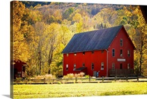 Red Barn and Autumn Foliage, Kent, Connecticut