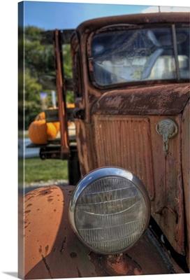 Scarecrow and Pumpkins in old truck at Grandmas Gardens in Springboro, Ohio