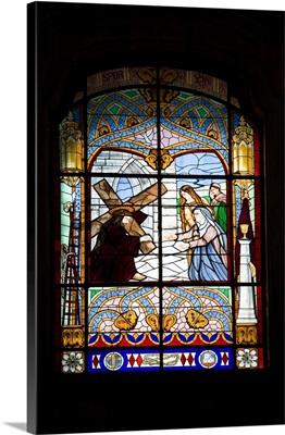 Stained glass window, Grana church, Lisbon, Portugal