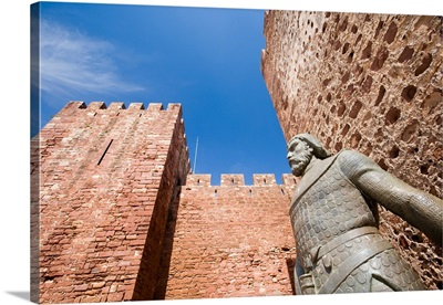 Statue of the king Alfonso III, Castle of Silves, district of Faro, Portugal