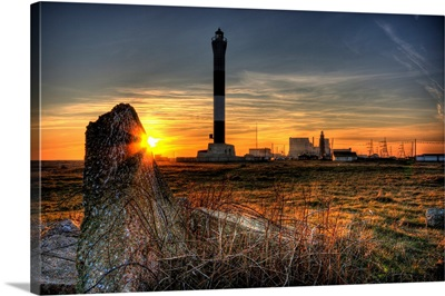 Sunset at Dungeness with both the old and new lighthouses