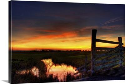 Sunset over Elmley marshes
