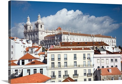 View of Lisbon from Santa Luzia viewpoint, Sao Miguel church on the top