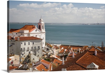 View of Lisbon from Santa Luzia viewpoint, with Santo Estevao church on the left