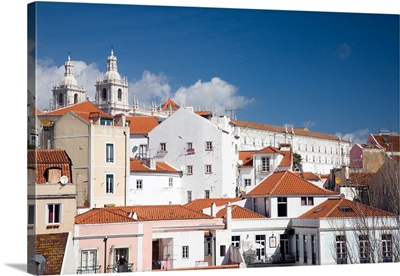 View of Lisbon from Santa Luzia viewpoint, with the twin towers of Sao Miguel church
