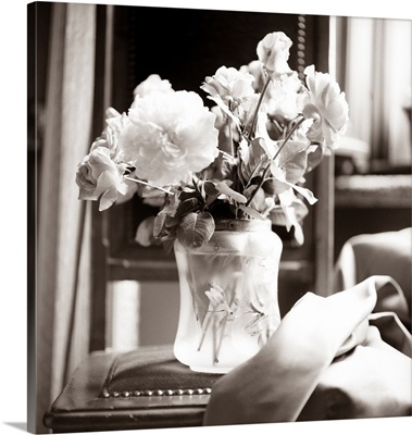 White flowers arranged in a glass vase