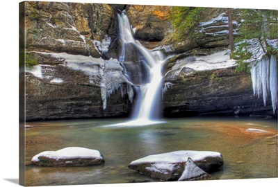 Winter landscape at Cedar Falls State Park, Ohio