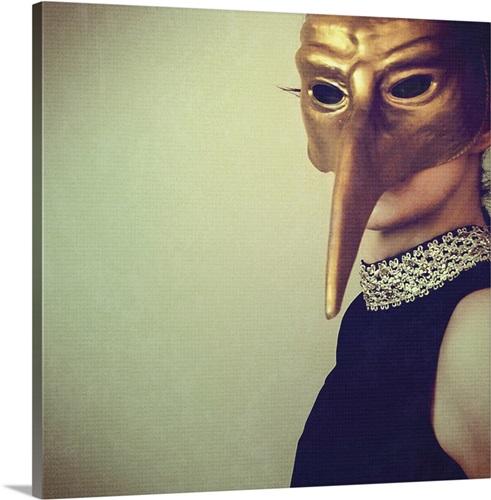 Woman in black dress wearing bronze carnival bird mask Wall Art ...
