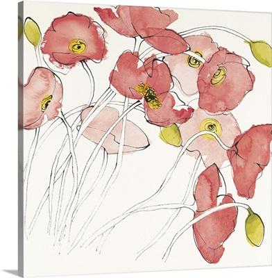 Black Line Poppies II Watercolor