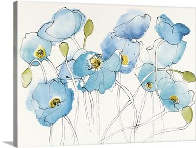 Black Line Poppies III Watercolor