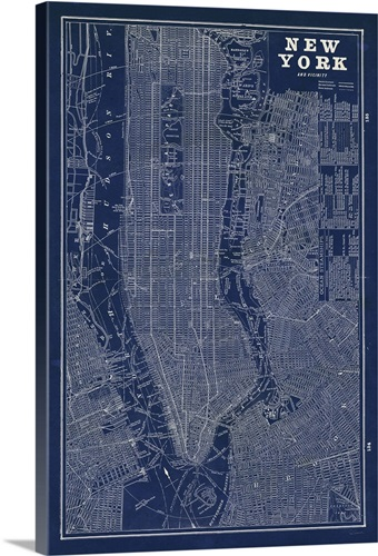 Blueprint map new york wall art canvas prints framed prints wall blueprint map new york canvas malvernweather Image collections