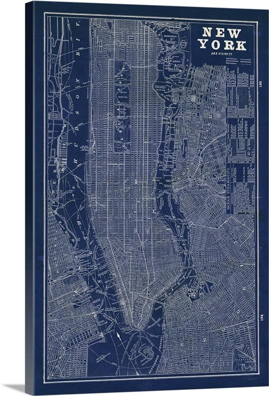 Blueprint Wall Art blueprint map new york wall art, canvas prints, framed prints