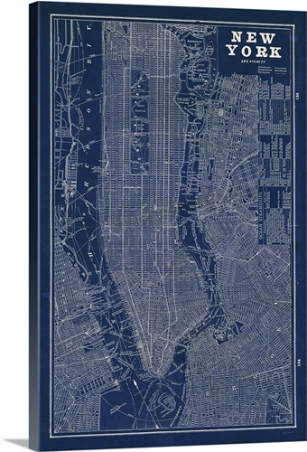Blueprint map new york wall art canvas prints framed prints wall blueprint map new york malvernweather Gallery