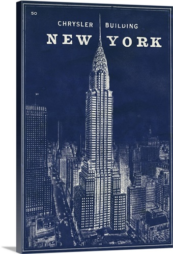 Blueprint map new york chrysler building wall art canvas prints blueprint map new york chrysler building canvas malvernweather Gallery