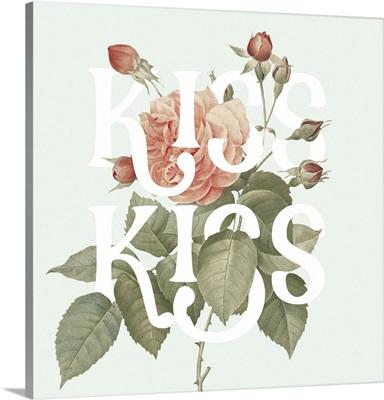 Botanical Pink Rose I Kiss