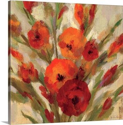 Crimson Blooms I - Crop