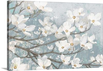 Dogwood Blossoms II Blue Gray Crop