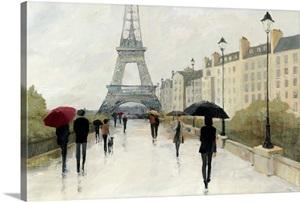 Eiffel in the Rain Marsala Umbrella Print by Avery Tillmon
